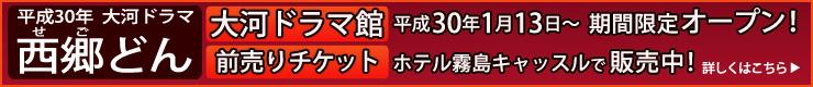 平成30年大河ドラマ「西郷どん」大河ドラマ館前売りチケット平成29年9月1日から販売開始