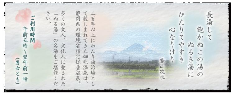静岡県の環境省指定保養温泉「畑毛温泉」の案内イメージ