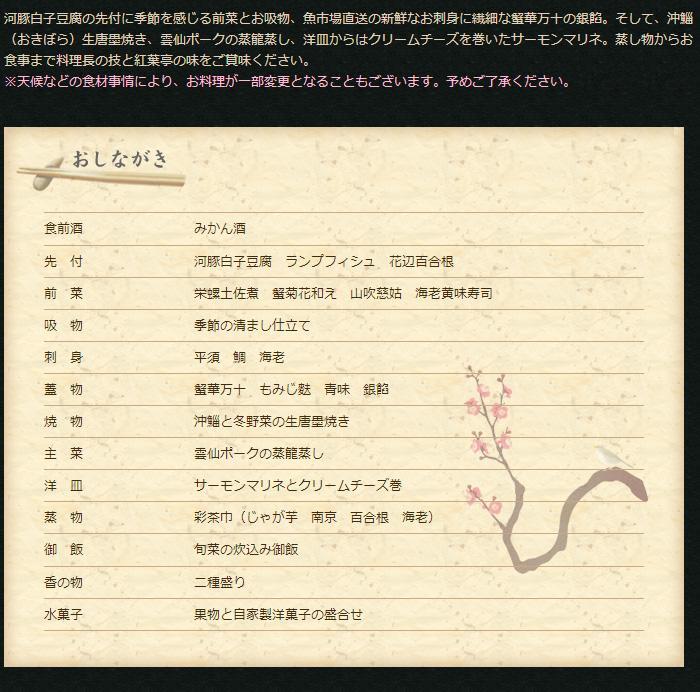 会席【桜】:料理説明とおしながき