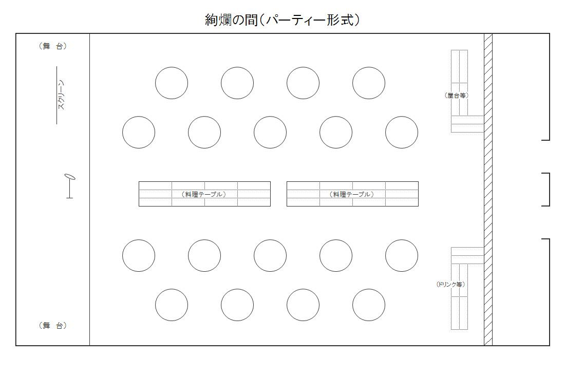 三河湾ヒルズ・ホテルのコンベンションホール「絢爛の間」レイアウト図(例:パーティー形式)
