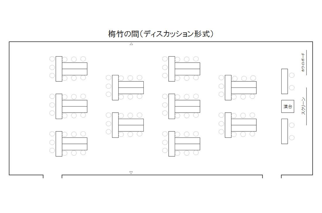 三河湾ヒルズ・ホテルの会議室「梅竹の間」レイアウト図(例:ディスカッション形式)