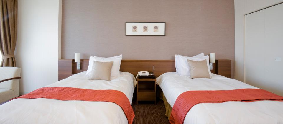 三河湾ヒルズ・ホテルの洋室ツイン(禁煙室)ベッド